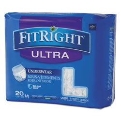 Medline FitRight Ultra Protective Underwear, Large, 40 in to 56 in Waist, 20/Pack, 4 Pack/Carton