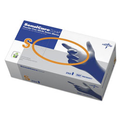 Medline Sensicare Ice Nitrile Exam Gloves, Powder-Free, Small, Blue, 250/Box