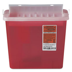 Medline Sharps Container for Patient Room, Plastic, 5 qt, Rectangular, Red