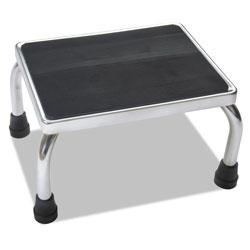 Medline Foot Stool, 1-Step, 16w x 12d x 8.25h, Steel, Chrome/Black Mat