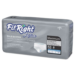 Medline FitRight Active Male Guards, 6 in x 11 in, White, 52/Pack