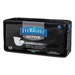 Medline FitRight Active Male Guards, 6 in x 11 in, White, 52/Pack, 4 Pack/Carton