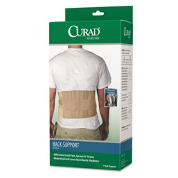 Curad Back Support, Elastic, 33 in to 48 in Waist Size, 33w x 48d x 10h, 6 Stays, Beige