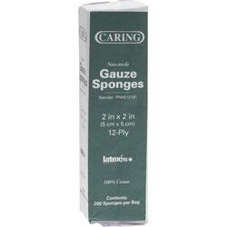 """Medline Gauze Sponges, Nonsterile, 2""""x2"""",12 Ply, 200/BX, White"""