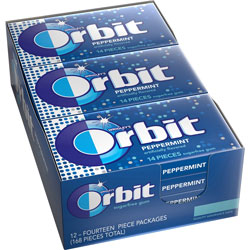 Marjack Orbit Gum, Individually Wrapped, Peppermint