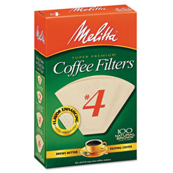 Melitta Coffee Filters, Natural Brown Paper, Cone Style, 8 to 12 Cups, 1200/Carton