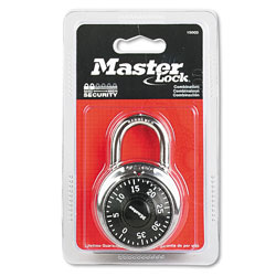 Master Lock Company Combination Lock, Stainless Steel, 1 7/8 in Wide, Black Dial