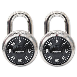 Master Lock Company Combination Lock, Stainless Steel, 1 7/8 in Wide, Black Dial, 2/Pack