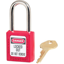 Master Lock Company Safety Keyed Padlock, 1/4 inD x 1.5 in Tall Shackle, Red