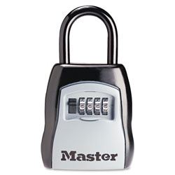 Master Lock Company Locking Combination 5 Key Steel Box, 3 1/4w x 1 5/8d x 4h, Black/Silver