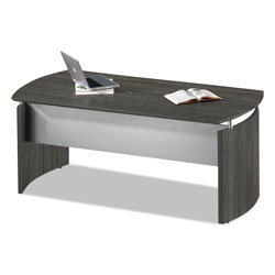 Safco Medina Series Laminate Curved Desk Base, 72w x 36d x 29.5h, Gray Steel