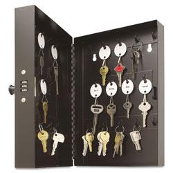 MMF Industries Hook-Style Key Cabinet, 28-Key, Steel, Black, 7-3/4 inw x 3-1/4 ind x 11-1/2 inh