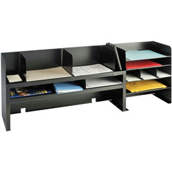 "MMF Industries Desk Organizer w/Dividers, 47-1/4"" x 9-1/2"" x 18-3/8"", Black"