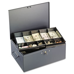 MMF Industries Extra Large Cash Box with Handles, Key Lock, Gray