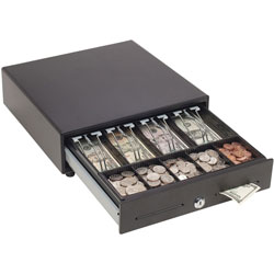 MMF Industries Touch Release Locking Cash Drawer w/Spring-Loaded Bill Weights, Black