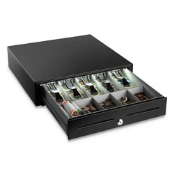 MMF Industries High-Security Cash Drawer, 4 1/4 in x 16 3/8 in x 16 1/8 in, Plastic; Steel, Black