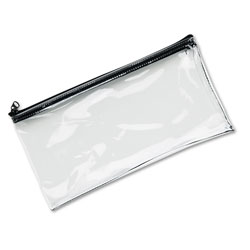 MMF Industries Leatherette Zippered Wallet, Leather-Like Vinyl, 11w x 6h, Clear