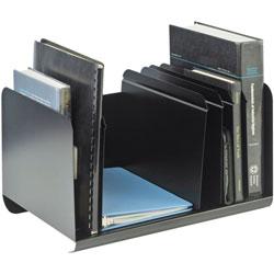 MMF Industries Six-Section Adjustable Book Rack, Steel, 15 x 11 x 8 7/8, Black