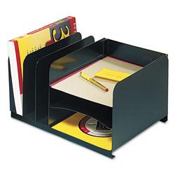 MMF Industries Vertical/Horizontal Combo Organizer, Six Sections, Steel, 15 x 11 x 8 1/8, Black