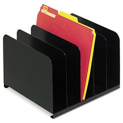 MMF Industries Desktop Vertical Organizer, Five Sections, Steel, 12 x 11 x 8 1/8, Black