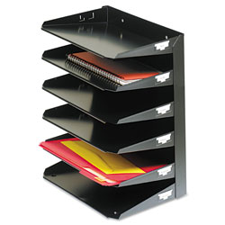 MMF Industries Steelmaster Multi-Tier Horizontal Letter Organizers, Six Tier, Steel, Black