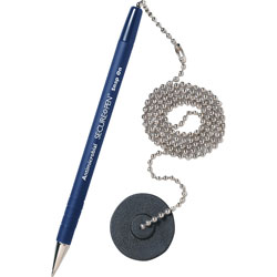 MMF Industries Counter Pen, 24 in Chain, Medium Point, 12/BX, Blue Ink/Barrel