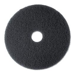 3M High Productivity Floor Pad 7300, 17 in Diameter, Black, 5/Carton
