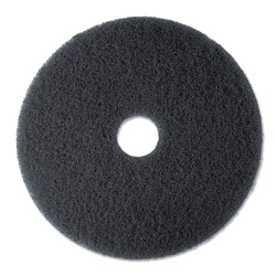 3M High Productivity Floor Pad 7300, 20 in Diameter, Black, 5/Carton