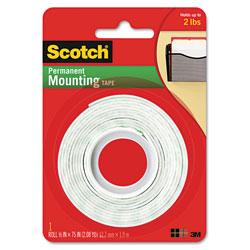 Scotch™ Foam Mounting Double-Sided Tape, 1/2 in Wide x 75 in Long