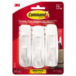 Command® General Purpose Hooks Multi-Pack, Large, 5 lb Cap, White, 3 Hooks and 6 Strips/Pack