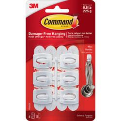 3M Command Hooks, Mini , 1/2lb. Capacity, 6 Hooks/8 Strips