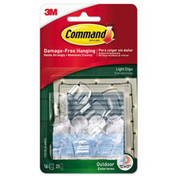 Command® All Weather Hooks and Strips, Plastic, Small, 16 Clips and 20 Strips/Pack