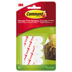 Command® Poster Strips, 5/8 in x 1 3/4 in, White, 12/Pack