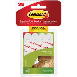 Command® Poster Strips, Removable Adhesive, Mega PK, 136/PK
