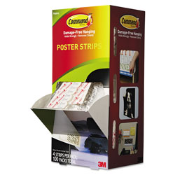 Command® Poster Strips, 5/8 in x 1 3/4 in, White, 4/Pack, 100 Packs/Carton
