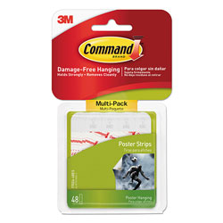 Command® Poster Strips Value Pack, 5/8 in x 1 3/4 in, White, 48/Pack