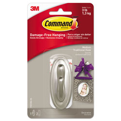 Command® Decorative Hooks, Traditional, Medium, 1 Hook and 2 Strips/Pack
