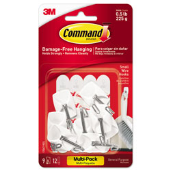Command® General Purpose Wire Hooks Multi-Pack, Small, 0.5 lb Cap, White, 9 Hooks and 12 Strips/Pack