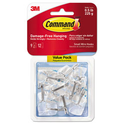 Command® Clear Hooks and Strips, Plastic/Wire, Small, 9 Hooks with 12 Adhesive Strips per Pack