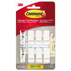 Command® Spring Hook, 3/4w x 5/8d x 1 1/2h, White, 8 Hooks/Packs