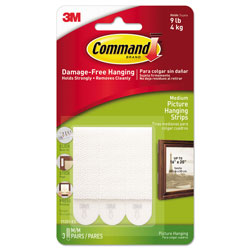Command® Picture Hanging Strips, Removable, 0.75 in x 2.75 in, White, 3 Pairs/Pack