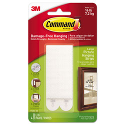 Command® Picture Hanging Strips, Removable, 0.5 in x 3.63 in, White, 4 Pairs/Pack