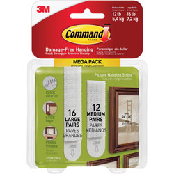 Command® Picture Hanging Strips, 3 lb or 4 lb Cap/Set, 28/PK