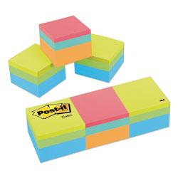 Post-it® Mini Cubes, 1 7/8 x 1 7/8, Orange Wav/Green Wave, 400-Sheet, 3/Pack