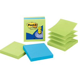 3M Pop-Up Notes, 3 in x 3 in, Limeade/Electric Blue, Pack of 3
