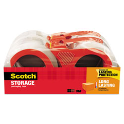 Scotch™ Storage Tape with Dispenser, 3 in Core, 1.88 in x 38.2 yds, Clear, 4/Pack