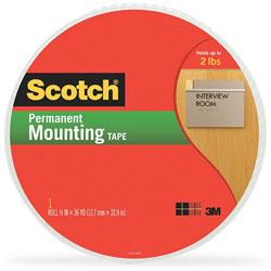 Scotch™ Double-Coated Foam Tape, 1/2 in x 36 yards, White
