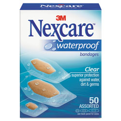 Nexcare Waterproof, Clear Bandages, Assorted Sizes, 50/Box