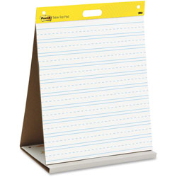 Post-it® Self Stick Tabletop Easel Ruled Pad, Command Strips, 20 x 23, White, 20 Shts/Pad