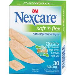 3M Soft-N-Flex Bandages, Assorted, 30/BX, Tan